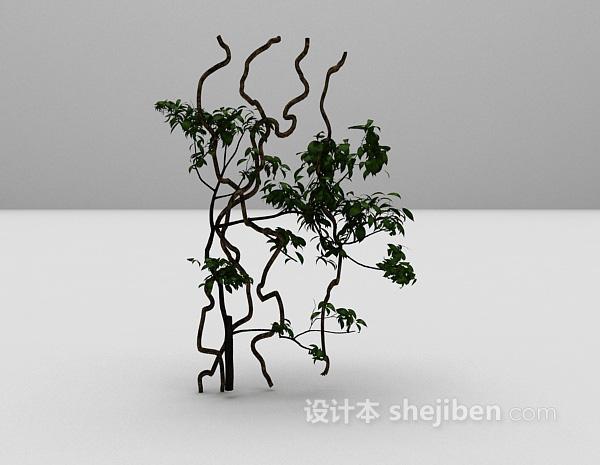 绿色藤蔓植物3d模型下载