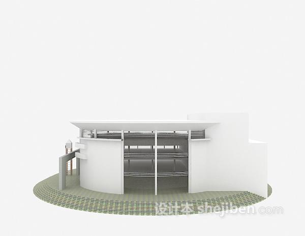 白色现代别墅3d模型下载