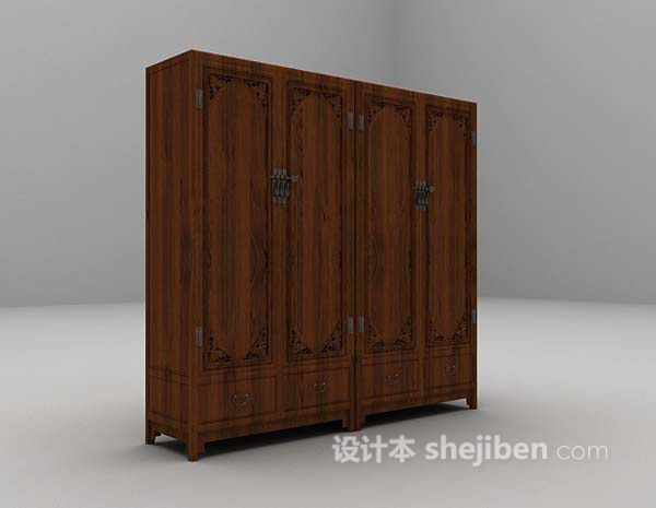 棕色衣柜3d模型下载