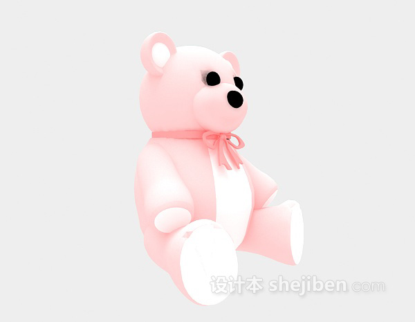 粉色娃娃熊3d模型下载