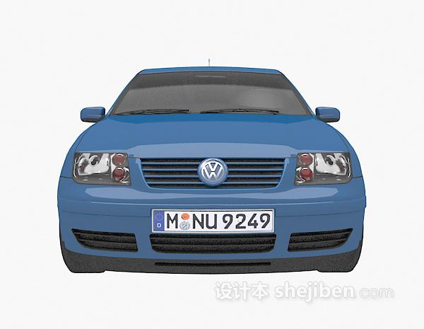 蓝色大众车的模型3d下载