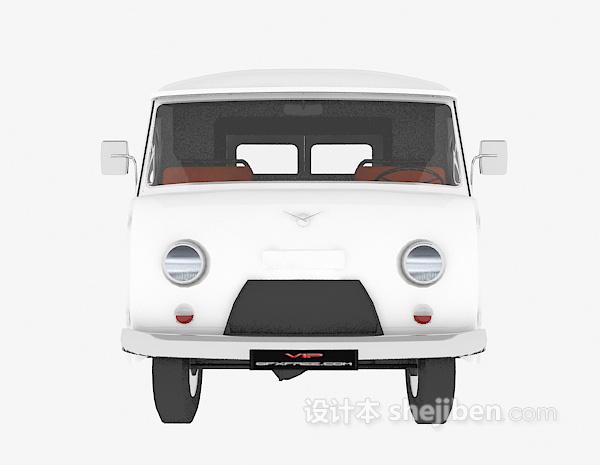 白色运输车3d模型下载