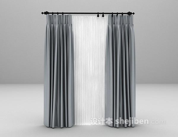 灰色飘逸窗帘3d模型下载
