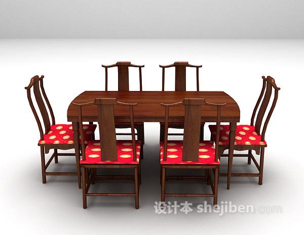 中式餐桌椅组合3d模型下载