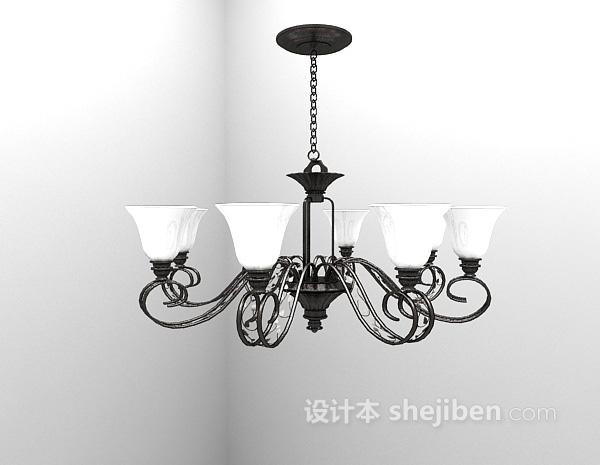 吊灯模型下载_铁艺白色吊灯3d模型下载-设计本3D模型下载