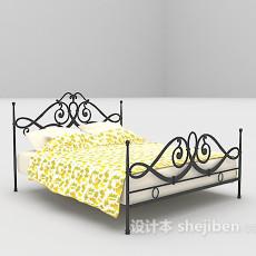 黄色欧式铁艺床max床3d模型下载