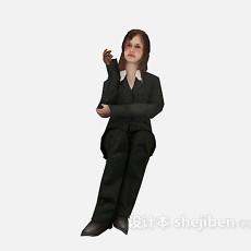 西装女性3d模型下载