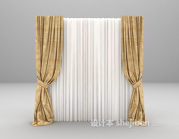 两色搭配窗帘3d模型下载