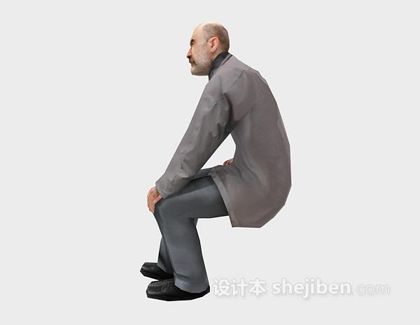 光头老人坐姿3d模型下载
