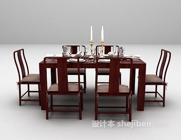 红色餐桌椅组合3d模型下载
