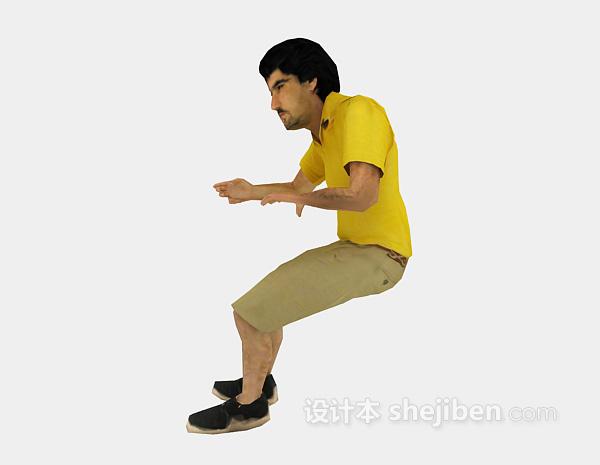 黄色衣服男人3d人物模型下载