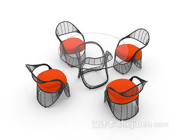 简易桌椅组合3d模型下载