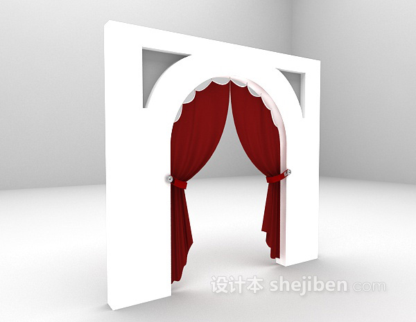 红色地中海窗帘3d模型下载