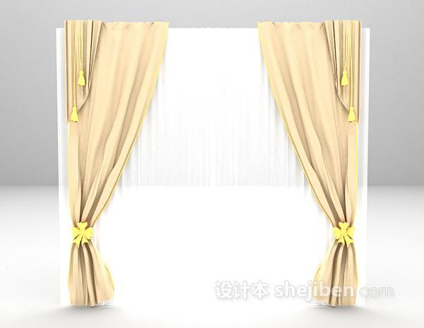 简欧粉色窗帘3d模型下载