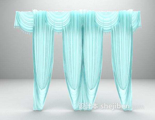 浅绿色窗帘3d模型下载