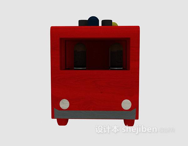 红色儿童玩具车模型下载