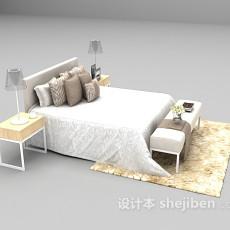 白色床具3d模型下载
