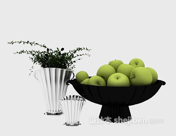 现代果盘组合水果3d模型下载