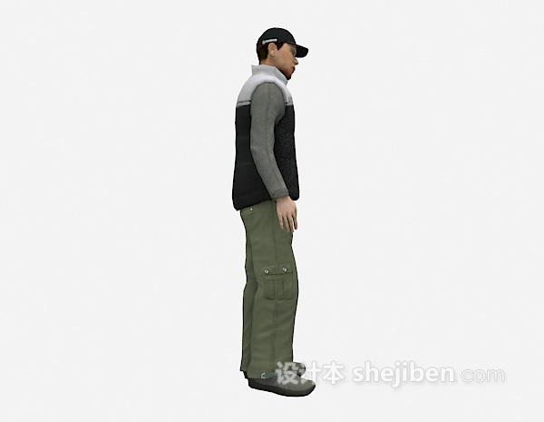带帽男士3d模型下载