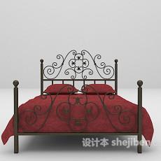 红色双人床铁艺3d模型下载