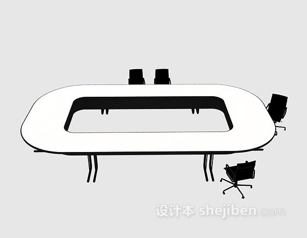 小型会议桌3d模型下载