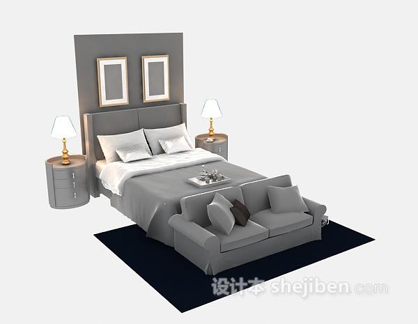 卧室双人床3d模型下载