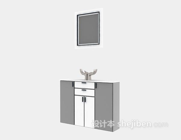 木质玄关柜3d模型下载