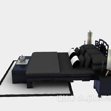 中式风格床具免费3d模型下载