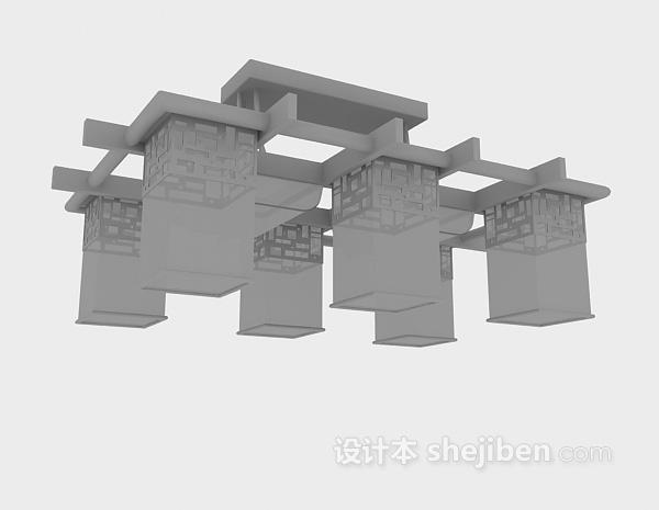 复古吊灯3d模型下载