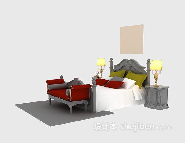 欧式风格木床3d模型下载