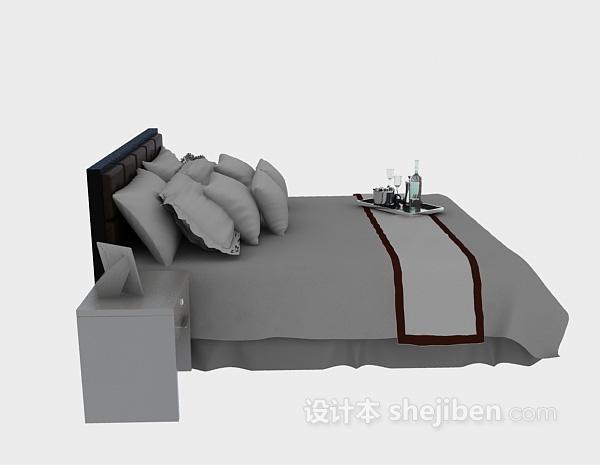 酒店床具3d模型下载