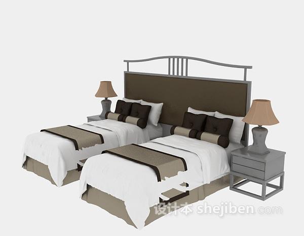 酒店单人床3d模型下载