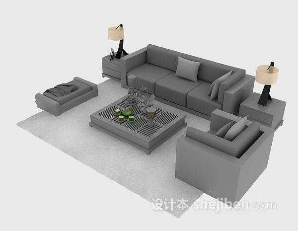 现代简洁沙发组合3d下载