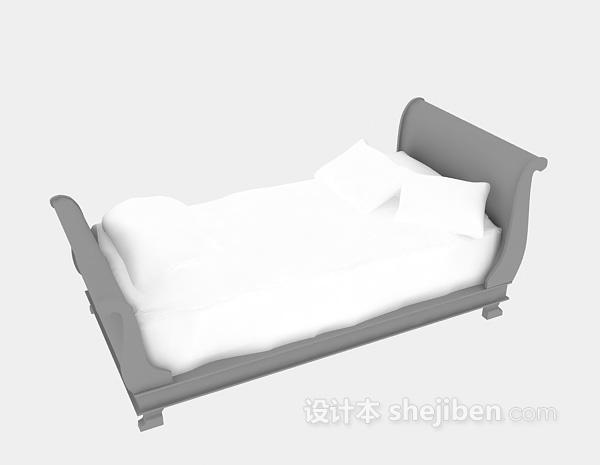 小型单人床3d模型下载