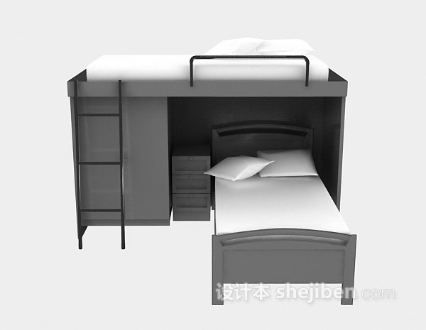 上下铺床3d模型免费下载