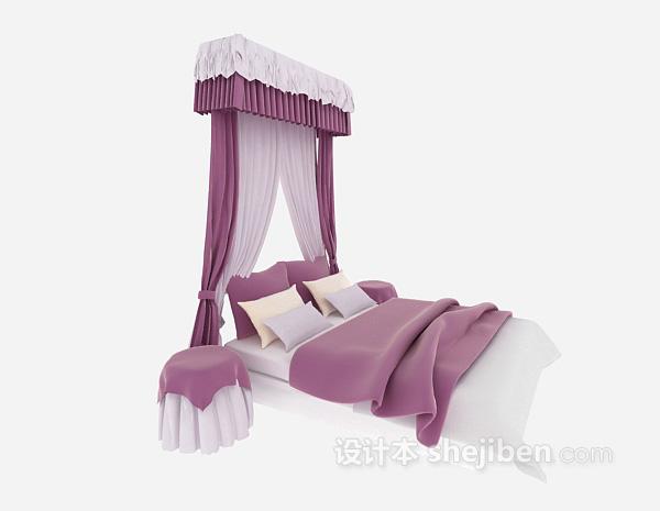 粉色婚嫁床3d模型下载