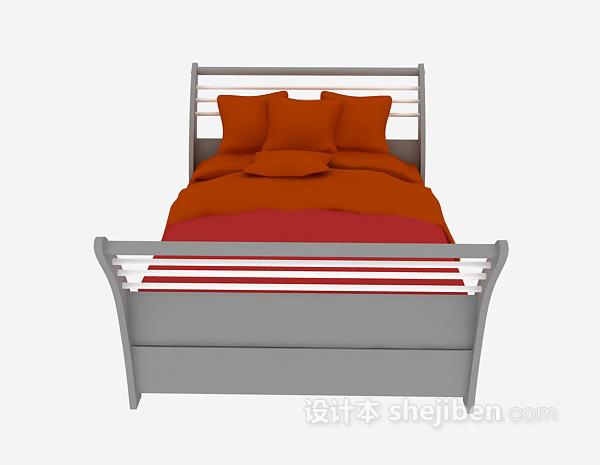实木单人床3d模型下载