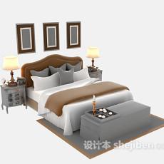 欧式木床3d模型下载