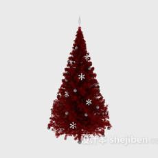 红色圣诞树3d模型下载