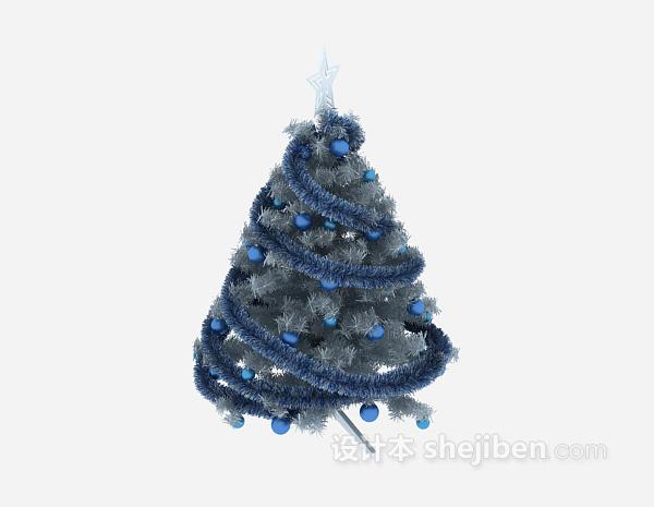 蓝色圣诞树3d模型下载