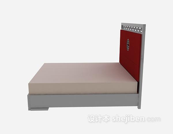 中式单人床3d模型下载