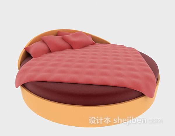 红色个性小床3d模型下载
