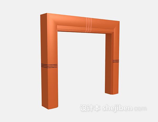 会议厅门柱3d模型下载