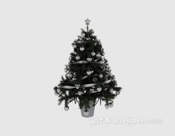 银色圣诞树3d模型下载