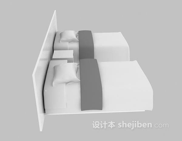 宾馆单人床3d模型下载