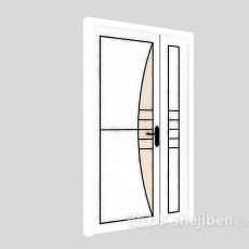 白色推拉门3d模型下载