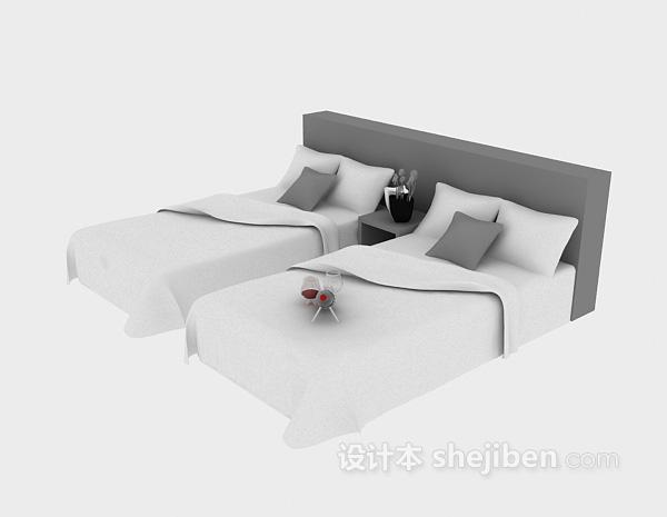 宾馆单人床模型3d下载