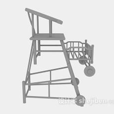 木质高脚椅3d模型下载