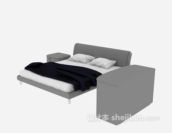 现代风格床具3d模型下载
