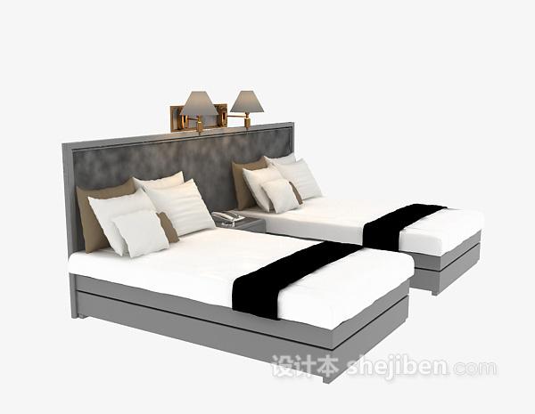 酒店式单人床3d模型免费下载
